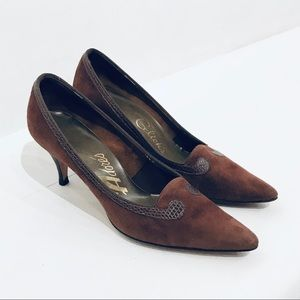 Vintage 60s Chocolate Brown Suede Pumps Sz 7